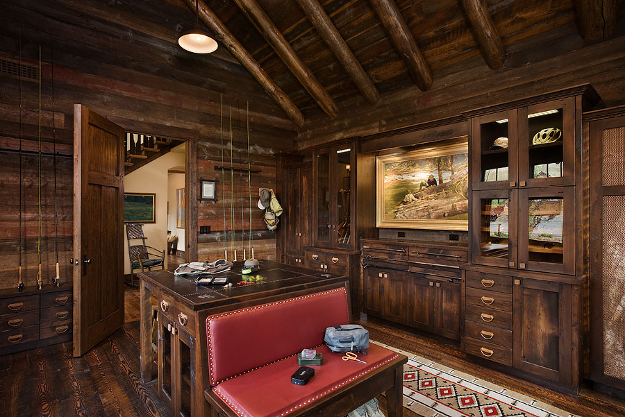 Interior, horizontal, gear room, Valley Garden Ranch, McAllister, Montana; Design Associates; Blue Ribbon Builders